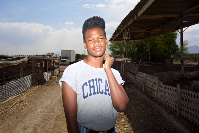 Shamir at RC Farms, the pig farm down the street from where he grew up in North Las Vegas on Thursday, April 23, 2015.